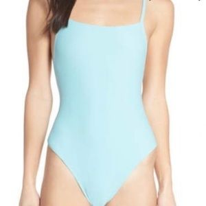 SOMETHING NAVY LOW BACK ONE-PIECE SWIMSUIT